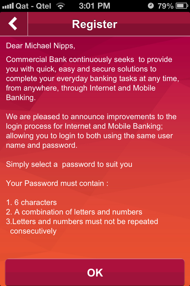 Mobile Banking Registration - Commercial Bank